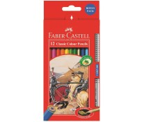 Creioane colorate, 12 culori/set + 1 creion mina grafit, FABER CASTELL Fighting Knights
