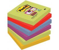Notes autoadeziv, 76 x 76mm, 6 x 90 file/pachet, diferite culori Marrakesh, POST-IT Super Sticky 654-6SS MAR