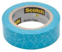 Banda adeziva decorativa, 15mm x 10m, imprimeu albastru intrerupt, SCOTCH Expressions Washi Tape