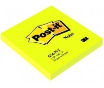 Notes autoadeziv, 76 x 76mm, 100 file/set, galben neon, POST-IT