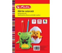 Hartie colorata, A4, 80 g/mp, diverse culori, 100 coli/top, HERLITZ
