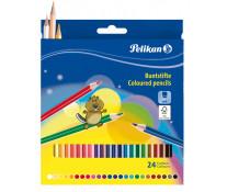 Creioane colorate lacuite, 24 culori/set, PELIKAN