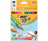 Creioane colorate, forma triunghiulara, 1/1, 12 culori/set, BIC EVOLUTION