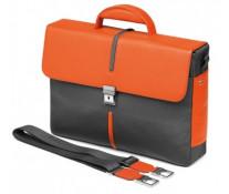 Servieta, din piele de bovina si textil, gri cu portocaliu, FEDON Web Brief-2