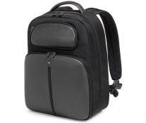 Rucsac pentru laptop, piele de bovina si nylon, negru cu gri, FEDON Web