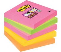 Notes autoadeziv, 76 x 76mm, 5 x 90 file/pachet, diferite culori intense, POST-IT Super Sticky 654S-N