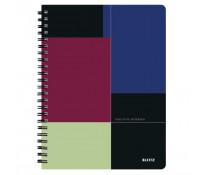 Caiet de birou, cu spira, coperta PP, A4, negru-violet, dictando, LEITZ Executive