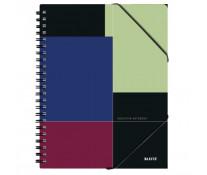 Caiet de birou, cu spira, coperta PP, A4, negru-violet, matematica, LEITZ Executive Be Mobile