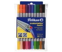 Carioci, cu 2 capete, 10 buc.=20 culori/set, PELIKAN Colorella Twin C304
