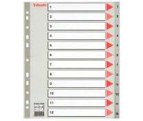 Separatoare din plastic, index 1-12, A4, ESSELTE Maxi