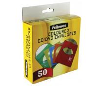 Plic CD, diferite culori, 50 buc/cutie, FELLOWES