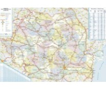 Harta plastifiata, Romania administrativ-rutiera, 100 x 70cm, AMCO PRESS