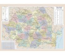 Harta plastifiata, Romania administrativ-rutiera, 140 x 100cm, AMCO PRESS