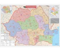 Harta plastifiata, Romania coduri postale, 100 x 70cm, baghete lemn, STIEFEL