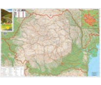 Harta pliata, Romania rutiera si Bucuresti zona centrala, 100 x 70cm, STIEFEL