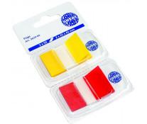 Index autoadeziv, din plastic, 25 x 43mm, 50 indecsi/culoare, rosu si galben/set, GLOBAL NOTES