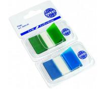 Index autoadeziv, din plastic, 25 x 43mm, 50 indecsi/culoare, verde si albastru/set, GLOBAL NOTES
