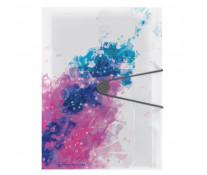 Mapa din plastic, A4, inchidere buton cu elastic, HERLITZ Color Splash Roz