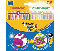 Carioci, 12 culori/set, BIC KiDS MINI COLOUR & CREATE