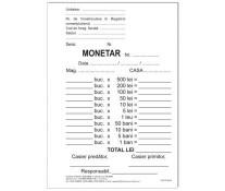 Monetar, A6, tipar fata, autocopiativ, 2ex., 50 set/carnet