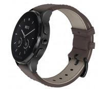 SmartWatch VECTOR Watch Luna, negru satinat, curea maro din piele