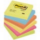 "Notesuri autoadezive (6 seturi), 76 x 76mm, 100 file/set, diferite culori neon, POST-IT ""DYNAMIC"" 654-TFEN"