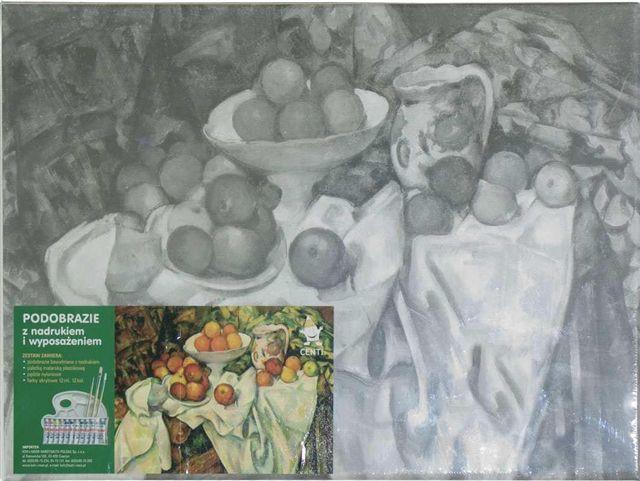 Set panza predesenata inramata 30x40cm include pensula si paleta de plastic KOH-I-NOOR Fructe