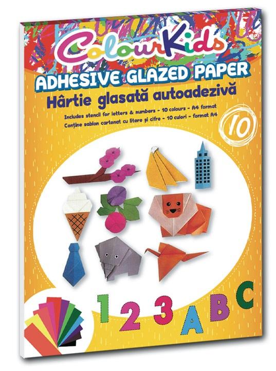 Hartie glasata adeziva A4 10 culori/set PIGNA ColourKids