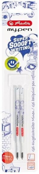 rezerva pix cu gel albastru 2 buc/set herlitz my pen