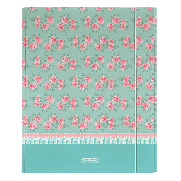 Dosar mapa din carton A4 XL inchidere cu elastic HERLITZ Ladylike Roses