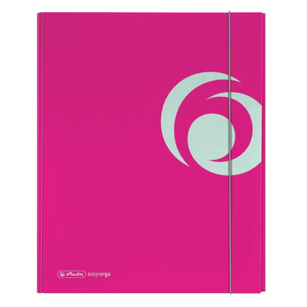 Dosar mapa carton lucios A4 XL inchidere cu elastic roz electrizant HERLITZ