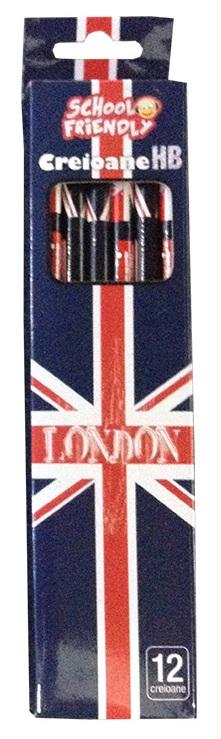 Creioane colorate cu mina grafit cu radiera HB 12 buc./set PIGNA London
