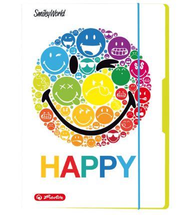 Mapa din carton A4 cu elastic albastru deschis HERLITZ Smiley World Rainbow