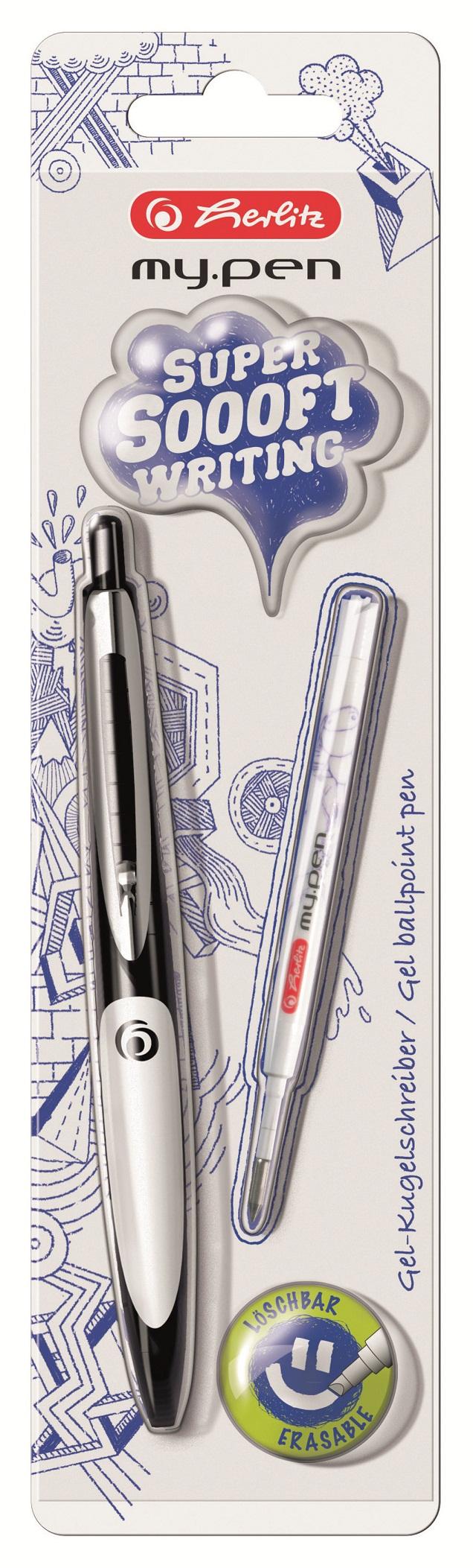 Pix cu gel negru/alb 1 bucata/blister HERLITZ my.pen