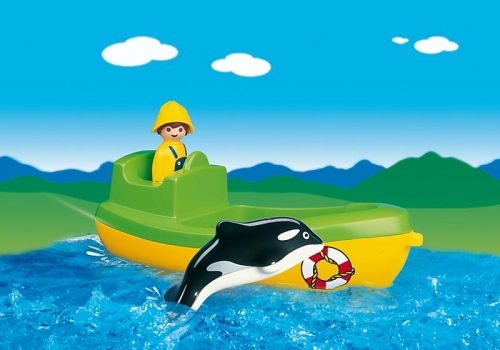Barca de pescuit cu balena PLAYMOBIL 1.2.3