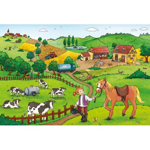 Puzzle Munca la ferma 2x12 piese RAVENSBURGER Puzzle Copii