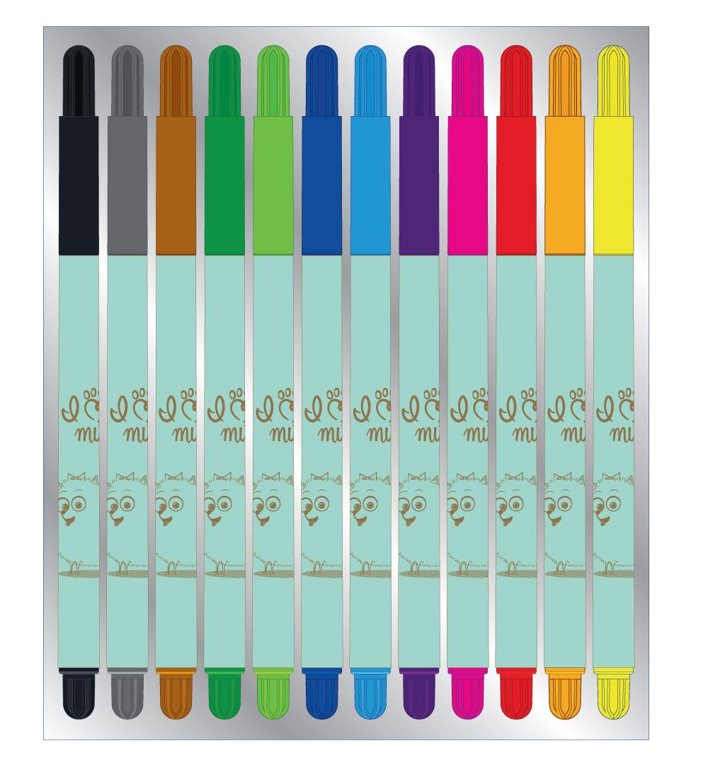 Carioci 12 culori/set PETS