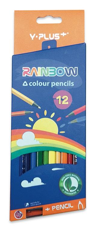 Creioane colorate ascutitoare 12 culori/set PIGNA Rainbow Y-Plus+