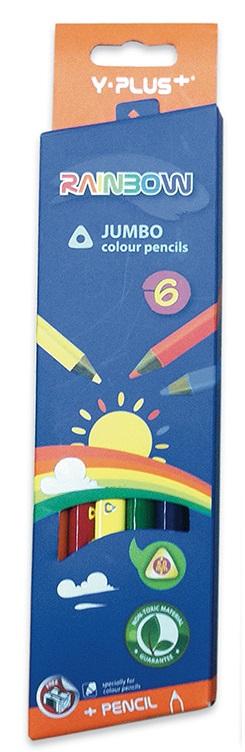 Creioane colorate ascutitoare 6 culori/set PIGNA Rainbow Jumbo Y-Plus+