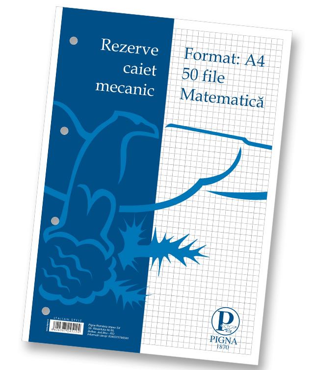 Rezerve pentru caiet mecanic A4 50 file matematica PIGNA Clasic