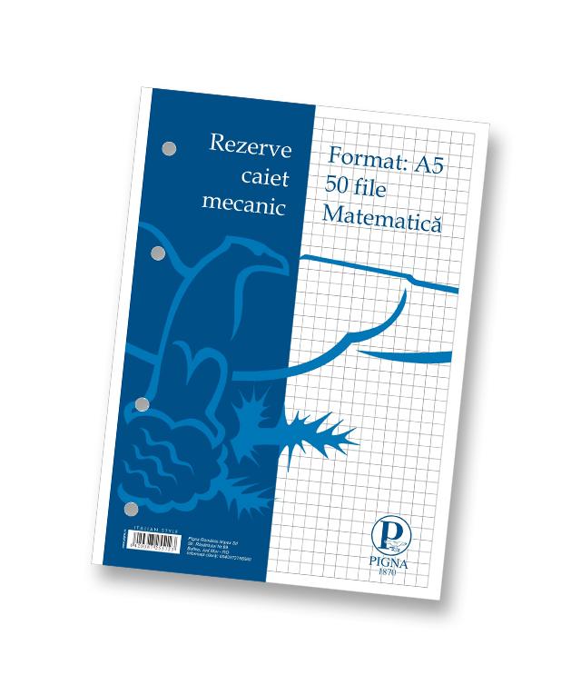 Rezerve pentru caiet mecanic A5 50 file matematica PIGNA Clasic