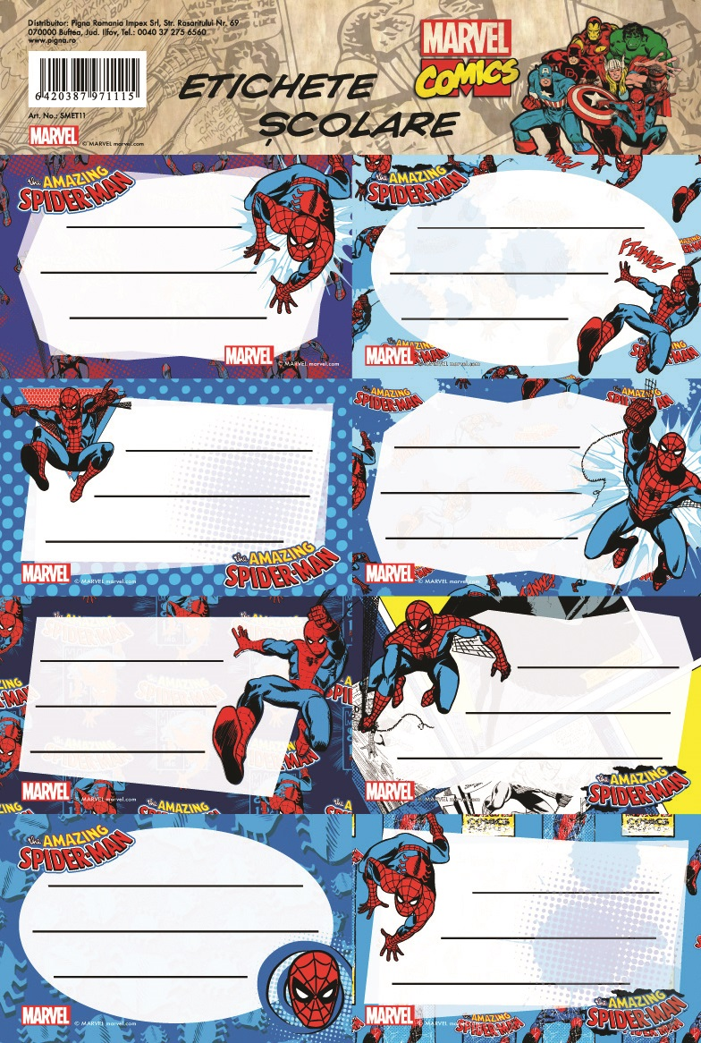 Etichete scolare 40 buc./set SPIDERMAN