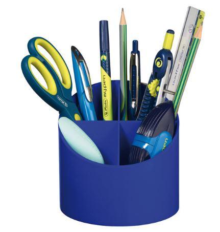 Suport pentru instrumente de scris rotund 4 compartimente albastru intens HERLITZ