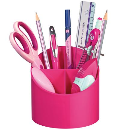 Suport pentru instrumente de scris rotund 4 compartimente roz HERLITZ