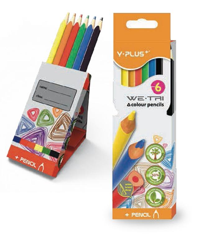 Creioane colorate cutie tip suport 6 culori/set PIGNA Y-Plus+