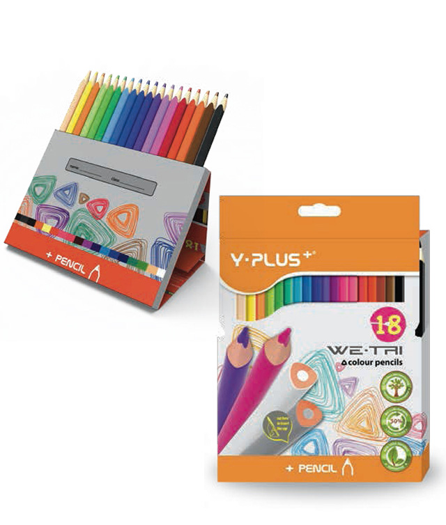 Creioane colorate cutie tip suport 18 culori/set PIGNA Y-Plus+