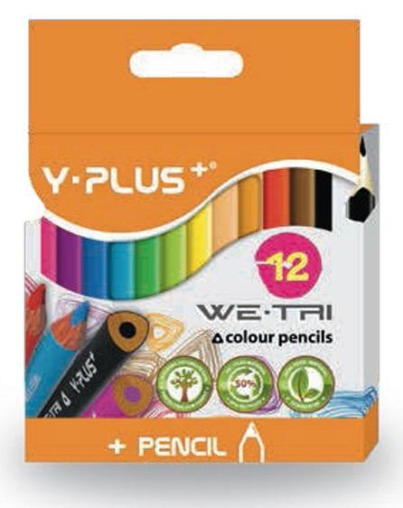 Creioane colorate cutie tip suport 88mm lungime 12 culori/set PIGNA Y-Plus+