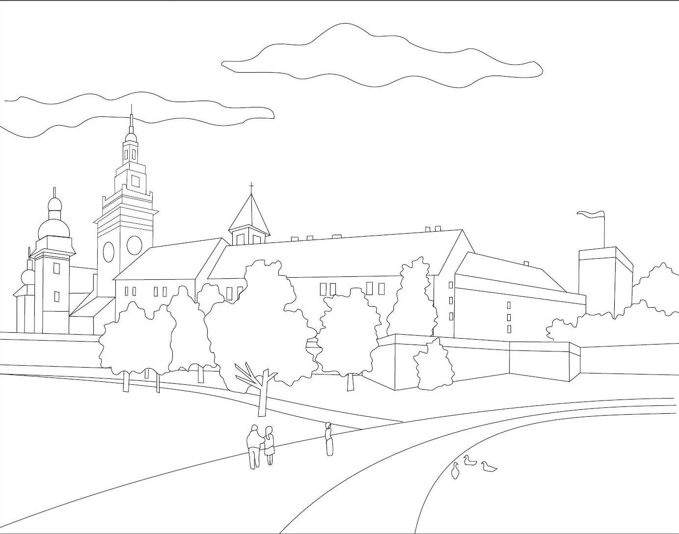 Set panza predesenata inramata 30x40cm include pensula si paleta de plastic KOH-I-NOOR Wawel Castel Cracovia