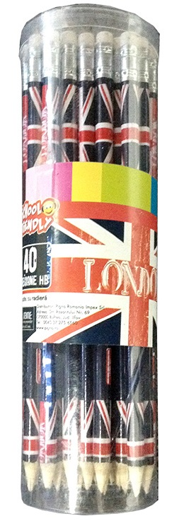 Creion cu mina grafit cu radiera HB PIGNA London