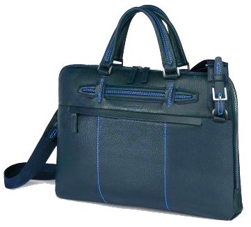 Geanta pentru laptop, din piele de bovina, albastru inchis, FEDON Venezia File-Doc